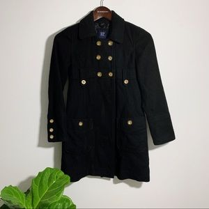 Gap Kids Black Pea Coat with Gold Buttons Large